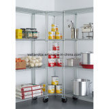 Restaurante comercial 4 camadas de armazenamento de canto de aço cromado Rack estantes do Fio