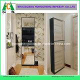 5つの層ミラーラック記憶の引出しの玄関の寝室の食器棚が付いている白い靴のキャビネット