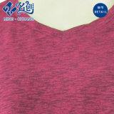 えんじ色の新式の円形カラー長い袖の緩い余暇の女性ブラウス