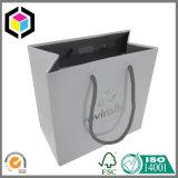 Saco dobrado da embalagem do papel do presente da jóia do logotipo da folha de prata
