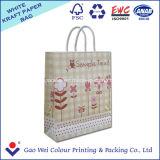 Bolso de papel de lujo blanco reciclado del regalo de la bolsa de papel de Kraft con diversos tipos de la maneta
