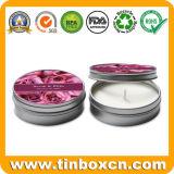 Caja redonda de la lata del recorrido, lata de la vela, envase de la vela del metal