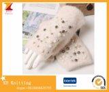 Перчатки шерстей зимы мягкие Fingerless с Handmade Inlay груши
