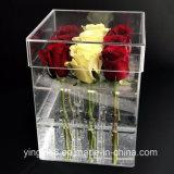 Luxe fleur acrylique carré boîte claire pour le rose et le chocolat