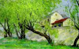 Peinture à l'huile estampée par Digitals chaude de 2017 de poste de vente en gros séries d'arbre