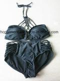 Lo Swimwear nero delle ragazze della stampa dei fiori scherza il costume da bagno per la ragazza, usura del bikini dei bambini
