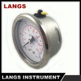 "070b 2.5 "" tipo calibrador de presión interno de cobre amarillo del anillo del balanceo"