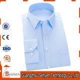 Camisa de vestido azul formal da cor dos homens clássicos do projeto do algodão