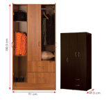 メラミンによって薄板にされるMFCの木の衣服の収納キャビネット/Wardrobe (HX-DR316)