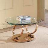 拡張ステンレス鋼の足を搭載する円形のコーヒーテーブル