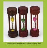 多色刷りの小さい木の砂のタイマー/円柱小型ガラス砂時計