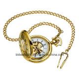 Relógio Pocket do caçador cheio mecânico Gold-Tone dos homens quentes