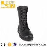黒く完全な穀物牛革軍隊のブートの軍の戦術的な戦闘用ブーツ