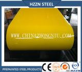 Color de acero galvanizado prepintado del amarillo de la bobina