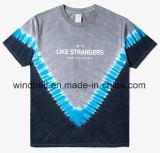 Camisa unisex elegante de Jersey T com a tintura listrada V do laço e impressão branca das letras