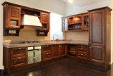 Gabinetes de cozinha luxuosos da madeira contínua para a mobília da casa de campo