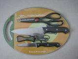 Facas de aço inoxidável ajustadas com placa de corte No. Kns-5b03