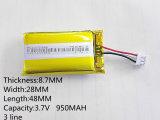 3.7V de Batterij van het Polymeer van het 950mAh 872848 Lithium voor PSP Mobiele Bluetooth