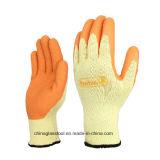 Gauntlet Cuff Wrinkle Finish Natural Rubber Palm Coated Construction Luvas Luva de látex de trabalho
