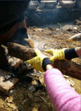Перчатка желтого хлопка запястья руки Knit вкладыша Джерси работая (2130)