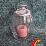 Старинная утюг стекла при свечах держателя/подставки