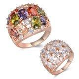 Anillo cristalino de la joyería de Milticolor del oro de Rose de las mujeres