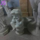 Weiß Marmor wenig Engels-Statue, die Skulptur für Dekoration schnitzt