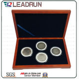 Casella di moneta commemorativa di moneta dell'accumulazione di caso di regalo del contenitore dei contanti del ricordo di legno di cuoio della casella (G10)