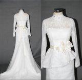 Vestido de casamento longo F5068 da sereia do laço da luva do colar elevado