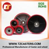 Roda de poliuretano com ferro fundido com costelas, roda do caminhão de paletes