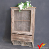 Antique Decorative Mesh Door Gabinete de parede de madeira com ganchos