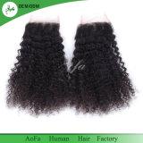 100% naturel non traité Kinky curly top Cheveux humains la fermeture de la qualité