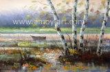 Bleu paysage Birch Tree couteau peintures d'huile de pétrole lourd et effet de texture