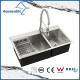 Dissipador Handmade do aço inoxidável da bancada da cozinha de Aquacubic Cupc (ACS3322A2UP-46)