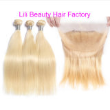 Lili beauté 613 faisceaux blonde avec frontal droit brésilien Weave Remy Cheveux humains avec faisceaux 360 FERMETURE FRONTALE