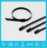 Cintas plásticas revestidas ajustáveis do material do aço inoxidável do fechamento da esfera do PVC da venda quente