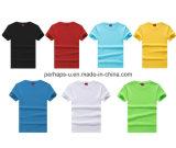 Chemise pure en gros d'hommes de T-shirt de coton avec le logo fait sur commande