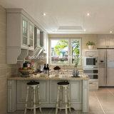 Più nuovo armadio da cucina bianco su ordine di legno solido della vernice Wk-10
