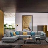 Grande formato grigio L sofà del tessuto di figura per la mobilia del salone