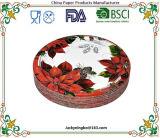 Рождество-Holiday одноразовые пластических масс посуда цветных пластину с помощью бумаги с покрытием PE Pack Сделано в Китае