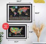 Monde et de USA Carte à gratter Accessoires Définir les drapeaux des pays facile pour le voyageur hors finition brillante