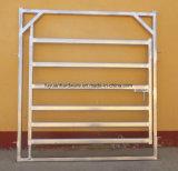 Ферма используется лошадь ограничительного типа крупного рогатого скота во дворе панели