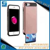 Caixa colorida do telefone de pilha das ranhuras para cartão da carteira de TPU+PC para o iPhone 7 de Apple
