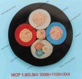 Резиновые короткого замыкания и использования полезных ископаемых закрытым нагревательным Fleixble резиновый кабель