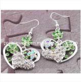 La moda verde en forma de corazón de aleación de Estrás Aretes joyas de moda de primavera de 2013 Circonita pendientes de diseño de Bisutería pendientes (PE-048)