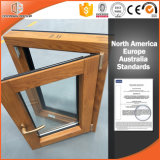 Ventana sólida revestida de aluminio del marco de madera de roble del cliente de Canadá Toronto, ventana de aluminio de madera satinada doble/del triple