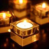 Suporte de vela de cristal claro e candelabro para decoração para casa