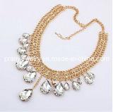 La moda de verano Joyas de Cristal blanco /Gota Collar chapado en aleación de zinc ajustable de oro cadenas con Rhinestones Ecológico