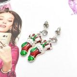 Brincos de gota da peúga do esmalte do Rhinestone da jóia da forma do Natal