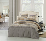 Brown-Grey 4 Pieces Emb & Pleat Bedding Set